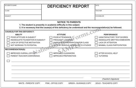 Deficiency Report 4 Part Form Nationalschoolforms Com Tutoring Report Template