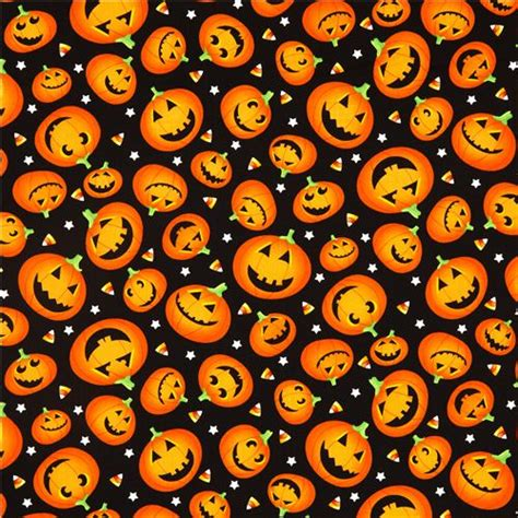 Note1 By Mikay Shop black designer fabric with orange pumpkins