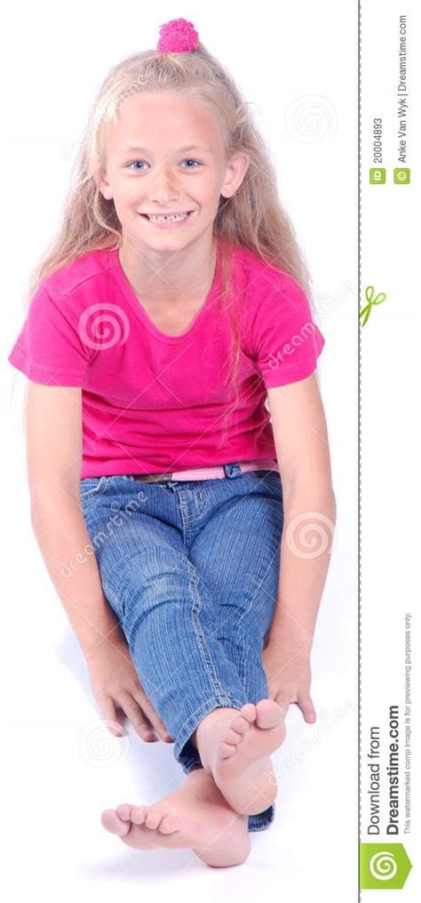 preteen model navel piercing beautiful little girl sitting stock image image of denim