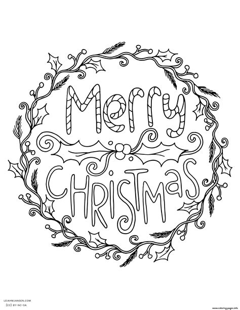 Merry Christmas Wreath Adult Coloring Pages Printable Merry Coloring Pages For