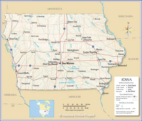 iowa state map reference map of iowa usa nations project