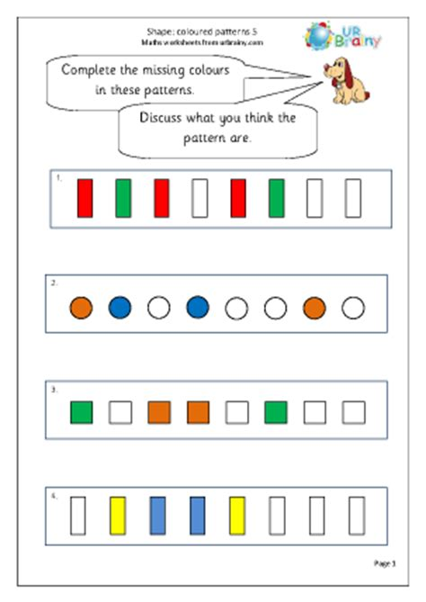 pattern year 2 maths shape colour patterns 5 geometry shape maths worksheets