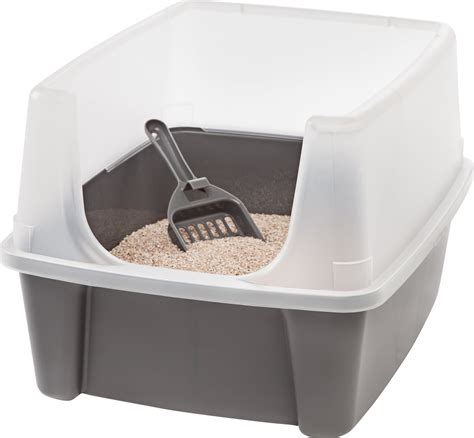 litter box a iris open top litter box with shield scoop gray chewy
