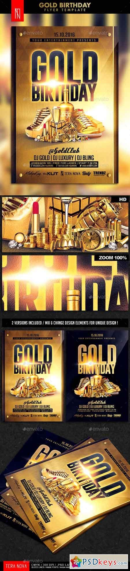 Gold Birthday Bling Bling Flyer Template 187 Free Download Photoshop Vector Stock Image Via Gold Flyer Template