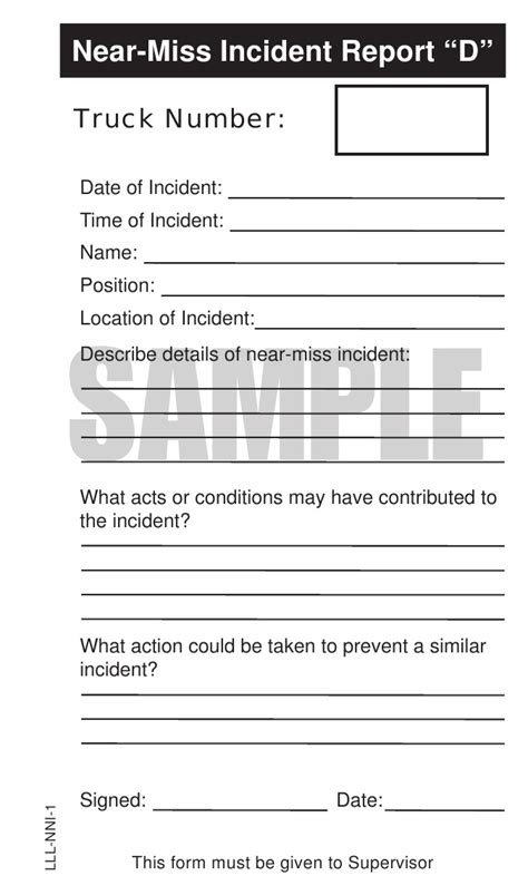 near miss report template forklift safety inspection checklist book the equipment log