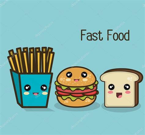 imagenes kawaii de comida chatarra kawaii comida r 225 pida hamburguesas papas fritas y pan