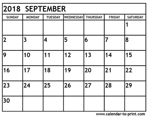 Calendar Sept 2018 September 2018 Calendar Printable