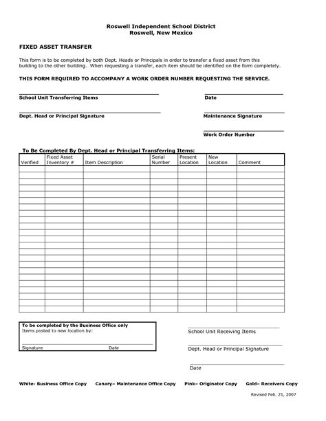 Transfer Equipment Letter 9 best images of asset transfer form template fixed