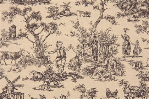 toile drapery fabric toile fabric black on ivory quot meadowbrook quot toile drapery