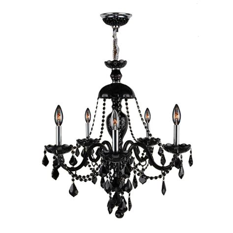5 Light Black Chandelier Worldwide Lighting Provence Collection 5 Light Polished Chrome And Black Chandelier