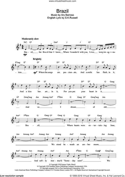 free brazilian music barroso brazil sheet music for voice and other
