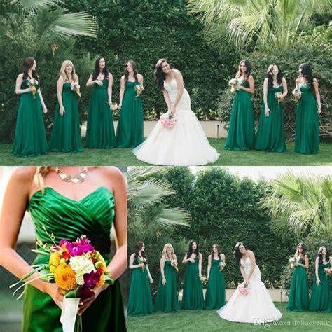 2015 emerald green bridesmaid dresses floor