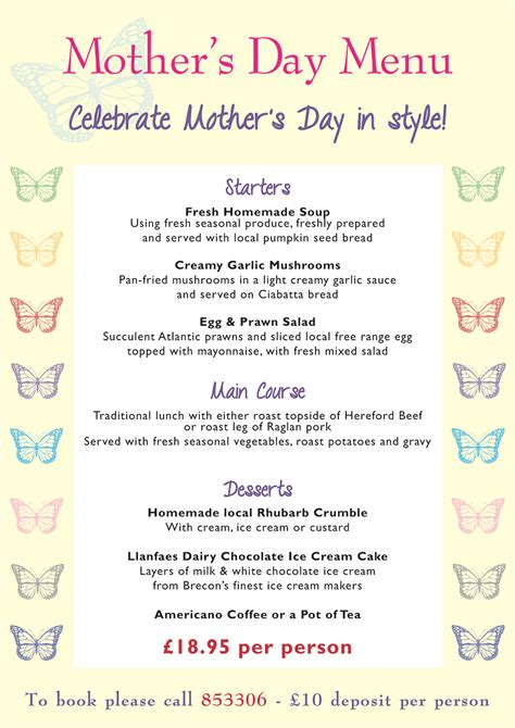 day menu pin mothers day menu on