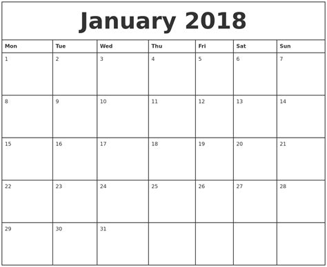 printable calendar starting monday january 2018 printable monthly calendar