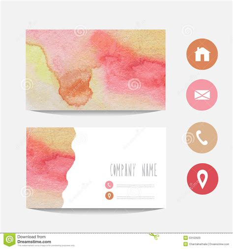 watercolor business card template free watercolor business card stock vector image 53102923