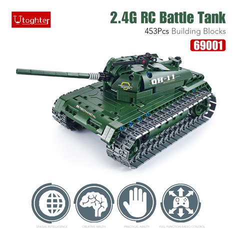 Bricks Ausini 20109 Remote Car 453pcs utoghter 69001 2 4g rc battle tank building blocks kits bricks car model diy toys