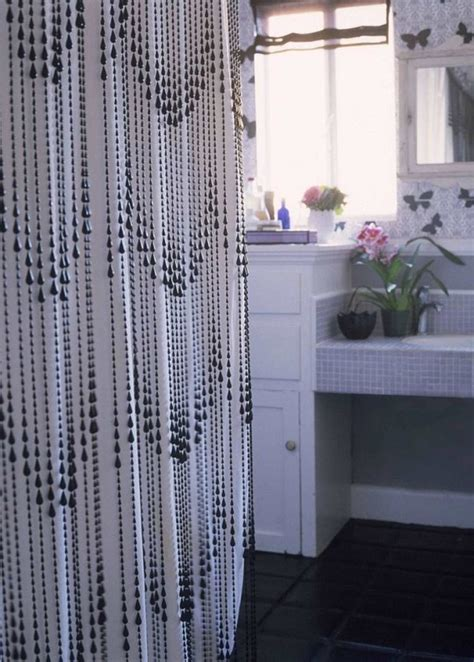 black and white beaded curtains interior black beaded in white shower curtain design