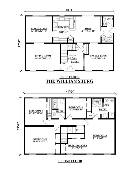floor plans two story the williamsburg two story floor plans kintner modular