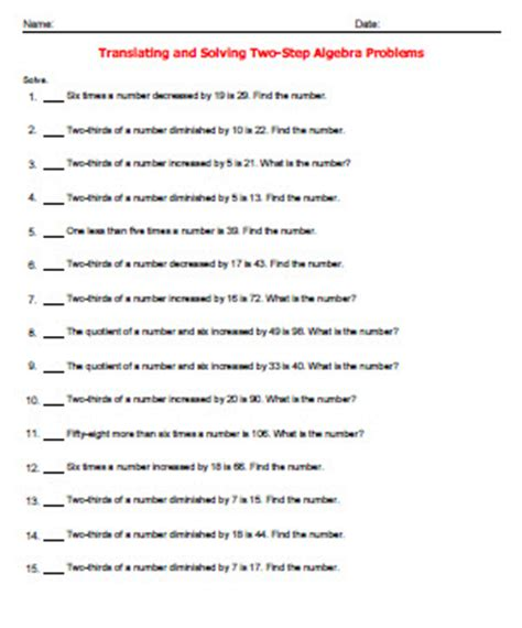 Translating Word Problems Into Algebraic Expressions Worksheet by Ged Math Worksheets Translating And Solving Two Step