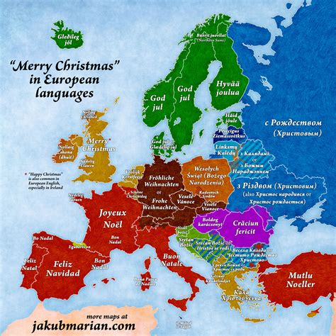 merry christmas  european languages map