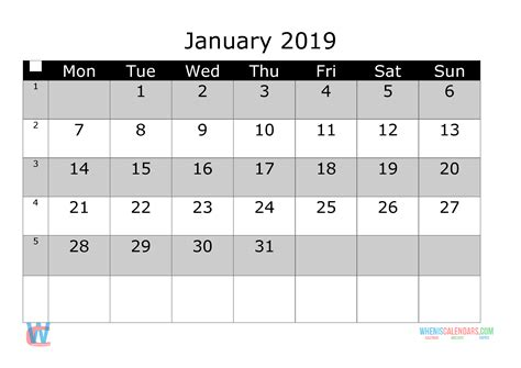 january  printable monthly calendar  week numbers monday  printable