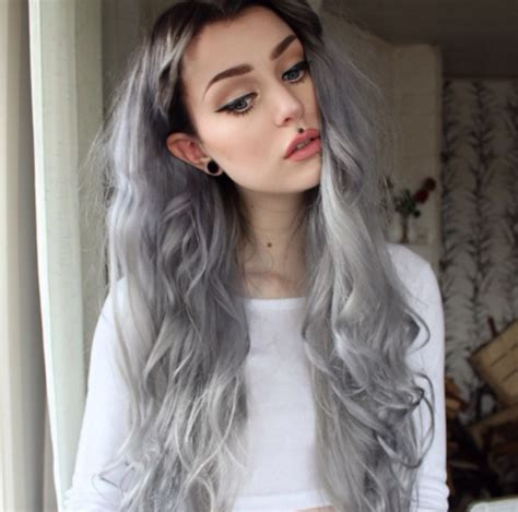 hair styles for gray roots steel grey hair with black roots 176 hair pinterest