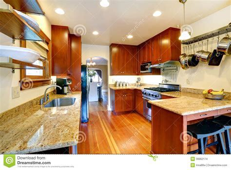 Kitchen Room With Archway To Dining Area Stock Photo