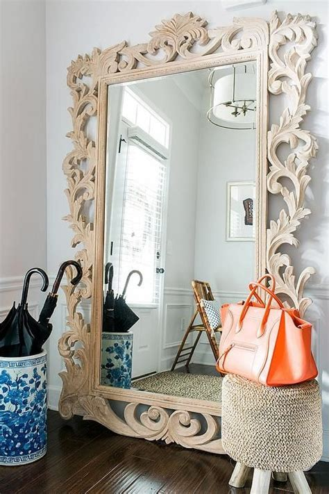 splendid leaner mirror decorating ideas chic foyer features a restoration hardware rococo leaner