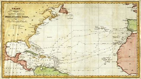 map of columbus christopher columbus nautical routes map 1828