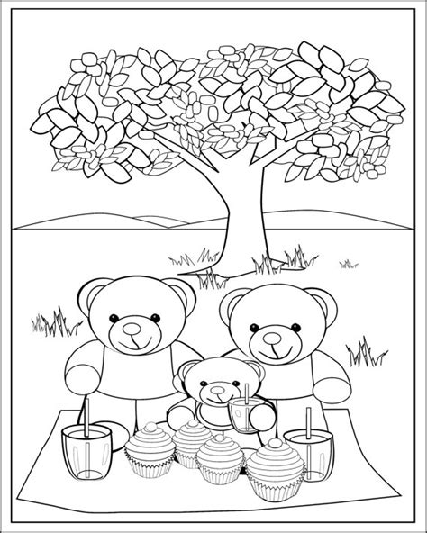 picnic coloring pages preschool fun teddy bear picnic colouring page for kids printable