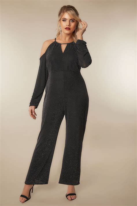Find By Address Only For Free Limited Collection Black Multi Glitter Jumpsuit With Cold Shoulders Plus Size 16 To 36