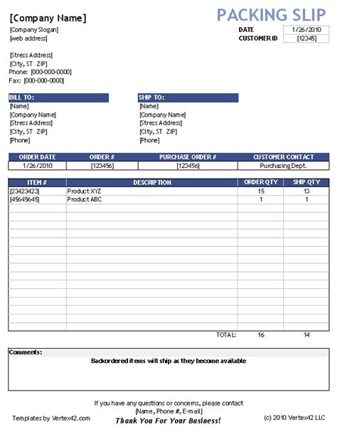 Free Packing Slip Template For Excel And Google Sheets Packaging Slip Template