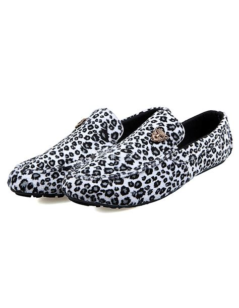 leopard print mens loafers leopard print slip on s loafers casual shoes milanoo