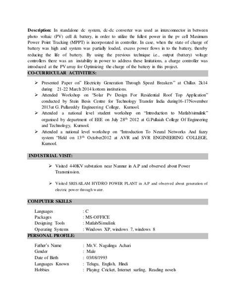 Convert Academic C V To Resume by Karthik V Nw Resume