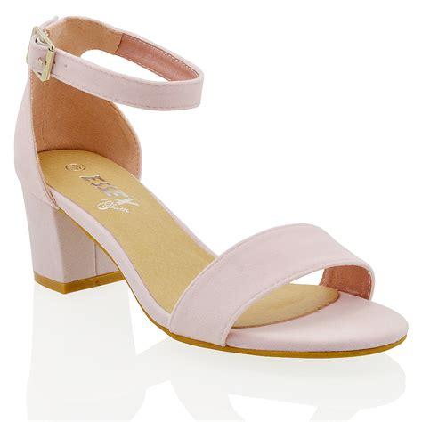 womens low mid heel block peep toe ankle strappy sandals 3 8 ebay