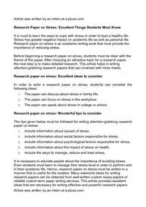 Stress Research Paper Research Paper On Stress Excellent Things Students Must