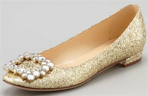 Gold Flat Shoes For Wedding by Sparkly Gold Wedding Shoes Pointed Ballet Flats Onewed