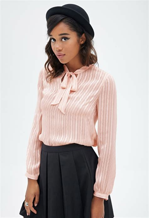 Forever 21 Blouse Murah Lyst Forever 21 Sheer Checkered Striped Blouse In Pink