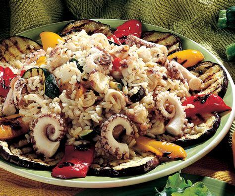 come cucinare piovra ricetta insalata di riso e piovra con verdure la cucina