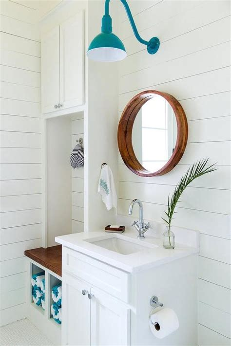 pool house bathroom with towel cubbies cottage bathroom