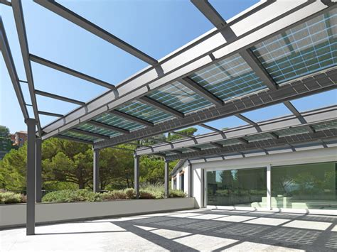 stainless steel pergola conservatory with photovoltaic