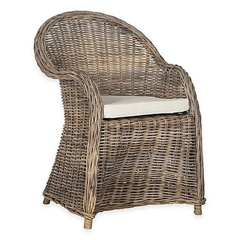 grey rattan club chair safavieh zane wicker club chair in grey bed bath beyond