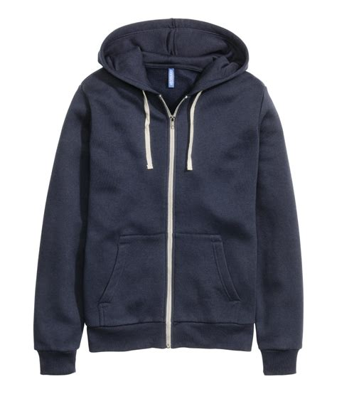 H Jaket h m hooded jacket in blue for lyst