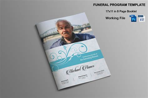 8 Page Funeral Booklet Template V482 Brochure Templates Creative Market Funeral Booklet Template Free