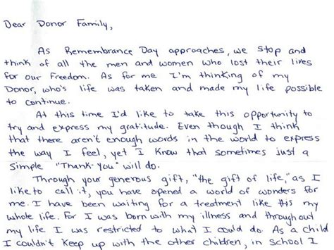 Heartfelt Thank You Letter For Donation Anonymous Letters Connect Donor Families With Organ