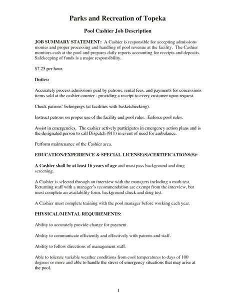 retail cashier description for resume resume exles 2017