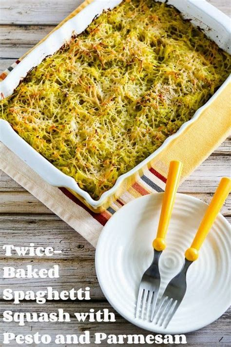 baked spaghetti squash with pesto and parmesan