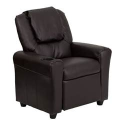 Recliner Chair With Cup Holder by Flash Furniture Brown Leather Recliner