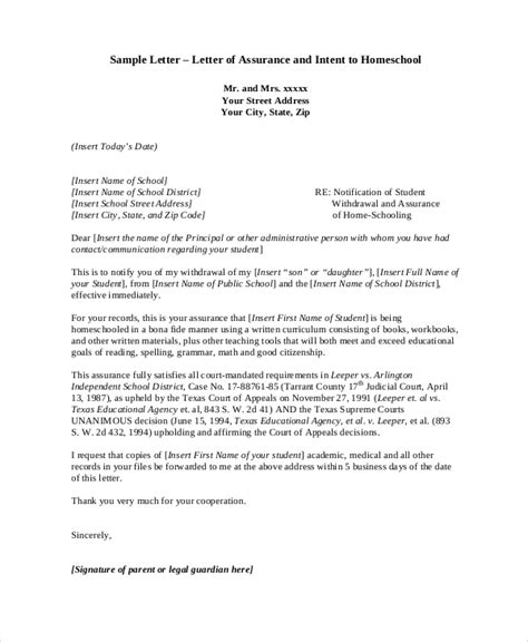 Letter Of Intent For School Withdrawal Homeschool Withdrawal Letter Docoments Ojazlink