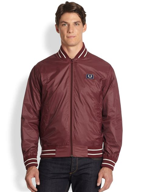 Hem Maroon Carson fred perry tipped bomber jacket in for lyst